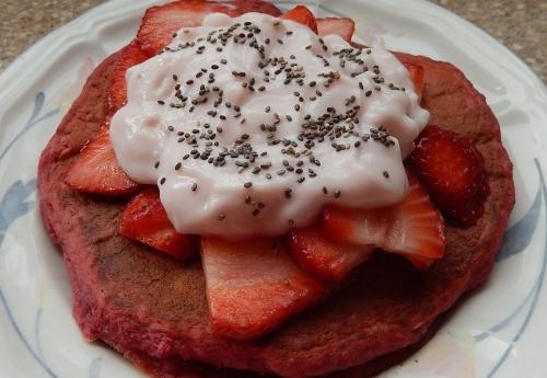 Beet Pancakes with Strawberries, Yogurt, and Chia Seeds